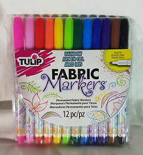 TULIP FABRIC MARKERS - RAINBOW - 12 PERMANENT FABRIC MARKERS