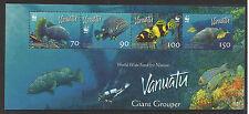 WWF WORLD WILDLIFE FUND VANUATU 2006 GROUPER Fish Marine Life STRIP of 4 MNH