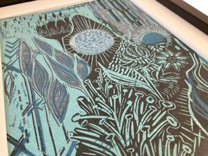 flower, reduction lino print, teal, white, floral art, bold print, block, garden