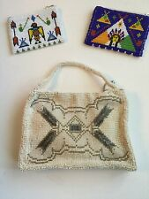 Vintage Cream Beaded Purse Bag + 2 Coin Purses