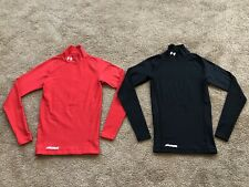 Lot of 2 Men's Under Armour Cold Gear Compression Stretch Lined Mock Turtlenecks