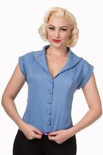 Blue Rockabilly Pinup Vintage 50s Retro Shirt Blouse Button Top Banned Apparel
