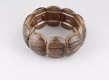 Brown Black stretch bracelet wood look plastic wide bangle cuff brushed