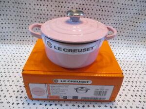 Le Creuset Cocotte Rond Pot Chiffon Pink 14cm kitchenware NEW W/BOX