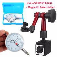 Adjustable Magnetic Base Stand Holder + White-face Dial Test Indicator Gauge