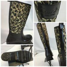 Coach Rain Boots Sz 5 B Brown Nylon Rubber Worn Once YGI H9S-51