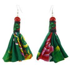 Boucles D'oreilles femme Tissu Coton Vert Motifs multicolore Jaune Rouge Perle