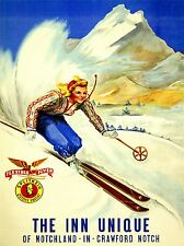 ADVERT NOTCHLAND INN NEW HAMPSHIRE USA WINTER SPORT SKIING POSTER PRINT BB1950A