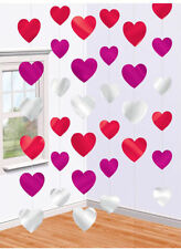 Hearts Hanging decoration Multi colour STRINGS Pink Red Silver Heart decorations