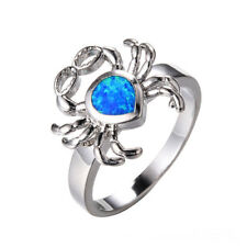 Women fashion Exquisite Silver glasses Crab Blue Fire Opal Diamond Ring size 8