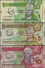 Turkmenistan, PNEW, 2017,3 Set, cerchiato, Comm @Ebanknoteshop
