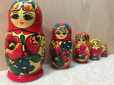 Russian Nesting Dolls Hand Made Matryoshka Painted Wood Set of 5 Made in Russia