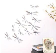 12 LIBELLULES 3D GRIS autocollants PVC Déco Mur/SDB/Porte/Chambre