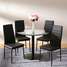 Modern Spave Saver Round Glass Dining Table and 4 Seater Chairs Set Kitchen Loft