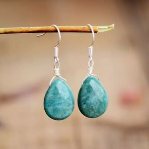 Handmade Natural Amazonite Teardrop Silver Dangle Drop Earrings Crystal Tear