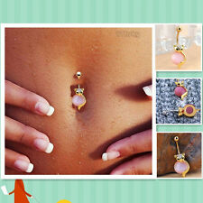 Pink Natural Opal Fox Kitten Gilded Navel Ring Body Accessory New Arrival sky x