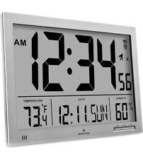 Marathon CL030067GG Slim-Jumbo Atomic Digital Wall Clock GRAPHITE