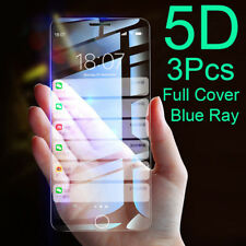 3Pcs Full Cover Blue Ray Tempered Glass Screen Protector For iPhone 5 5S 6 7 8 X