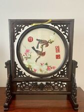 Chinese Double-sided Silk Embroidery Bird Round Wooden Screen Table Decoration