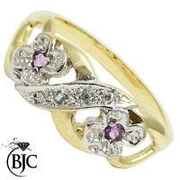BJC® 9ct Yellow gold Amethyst Blue topaz & Diamond Cluster Flower ring R266