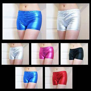 Ladies Girls Metallic Hot Pants Mini Shorts Neon Tutus Retro UK 6-12