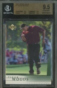 2001 Upper Deck Golf Tiger Woods Rookie RC #1 BGS 9.5 X 4 PSA 10 Cross
