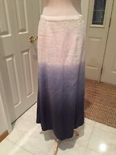 NWT $175 Saks 5th Avenue Ombre Navy Blue /white Linen A Line Skirt Small