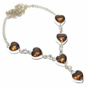 "Smokey Topaz-Heart 925 Sterling Silver Handmade Jewelry Necklace 17.99"" N2980"
