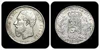 1871 Belgium 5 Francs - Silver (VF+/XF Sharpness)
