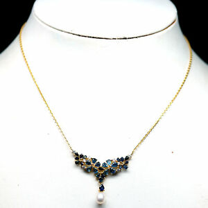 NATURAL HEATED BLUE SAPPHIRE, WHITE PEARL & CZ NECKLACE 925 STERLING SILVER