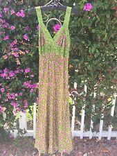 Nice! Vintage Betsey Johnson Multi Color Floral Rayon Lace Slip Dress Women's M
