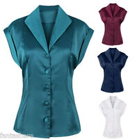 Elegant Women Retro V Neck 50s Rockabilly Vintage Blouse Shirt Button Top Pinup