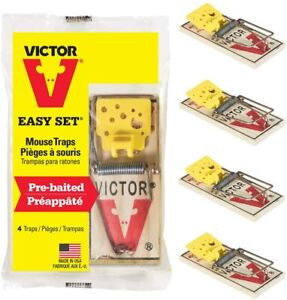 Victor Easy Set Mouse Traps that Work - Pack of 4 - Effective Pest Control Indoo