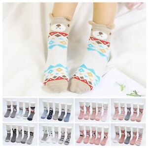 3/4/5 Pairs Toddler Cartoon Cotton Kids Cute Ankle High Socks Boys Girls Socks