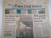 CAPE COD TIMES MA NEWSPAPER Aug. 24 1993 CLINTON'S First Family JFK CIA THEORIES