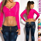 Sexy Women's Knitted Crop Top Jumper Sweater Jacket Size 10 8 6 /US 2 4 6 XS S M