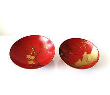 Vintage Red & Gold Asian Japanese or Chinese Lacquerware Footed Bowls Set of 2