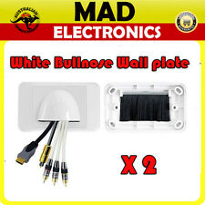 2 x Bullnose AV Home Theatre Wall Plate - White