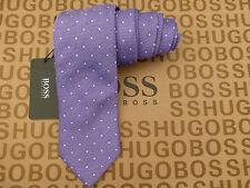Hugo BOSS Seidenkrawatte Prächtige gewebte Classic lila Standard lange Krawatten Bnwt Rrp £ 75