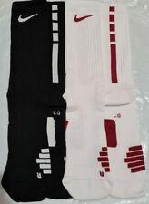 Nike Elite Team Crew Basketball Socks Size L UK 8-12/ 2 Pairs Black/White