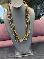 Vintage Multi Strand  Black brown Gold Wood  Beaded Bohemian Necklace 24""