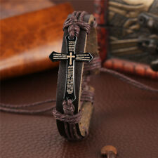 Steampunk Classic Handmade Jewelry Leather Bracelet Cross Women Men Dress Gifts