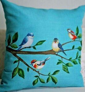 "Country TEAL BIRDS on Branch OUTDOOR PILLOW USA! 16"" New Line Bird Pillows"
