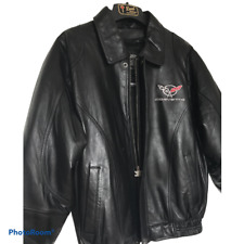 Corvette Mens Black Leather Inlay Bomber Jacket By Reed Sz 42