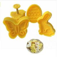 4X 3D Easter Plastic Cookie Cutter Plunger Biscuit Pastry Fondant Baking Mold AU