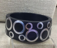 Fashion Bracelet Plastic & Aluminum Metal Circle Inlay Wide Bangle