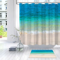 Large Human Skull On Beach Bathroom Fabric Shower Curtain Set With Hooks 71Inch