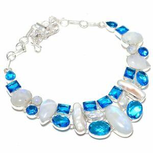 """Rainbow Moonstone, Blue Topaz Gemstone Handmade Jewelry Necklace 18"""" ZN-1291"""