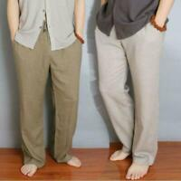 Vintage Mens Casual Natural Linen Beach Loose Pants Chinese Ethnic Trousers M-5X