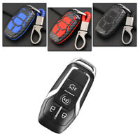 Carbon Fiber Design Shell+Silicone Cover Holder Fob Case  For  Ford Remote Key I